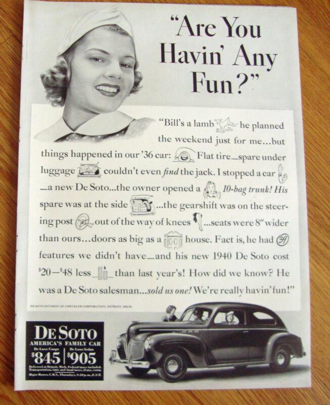 1940 DeSoto DeLuxe Coupe Ad Are You Havin