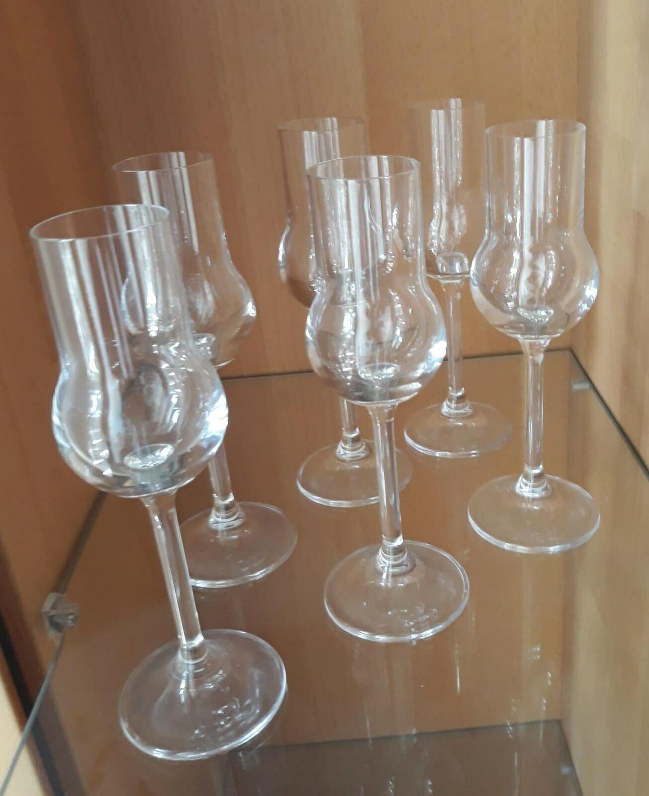 6 Grappagläser Glas Stielfast nie benutzt Höhe ca16,5cm aus 80er od. 90er