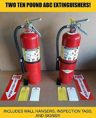 Fire Extinguisher - 10 Lb Abc Dry Chemical Lot Of 2 Scratchdent