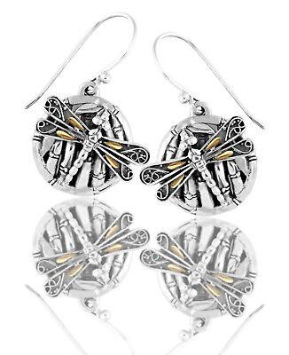 Devata Sweet Dragonfly Bamboo SterlingSilver 925 Earrings 18K Gold Wings DBN5672