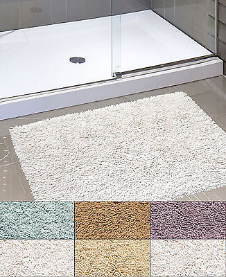 Kensington Shaggy Chenille Cotton Noodle Bath Bathroom Rug 21″ x 34″ Bath