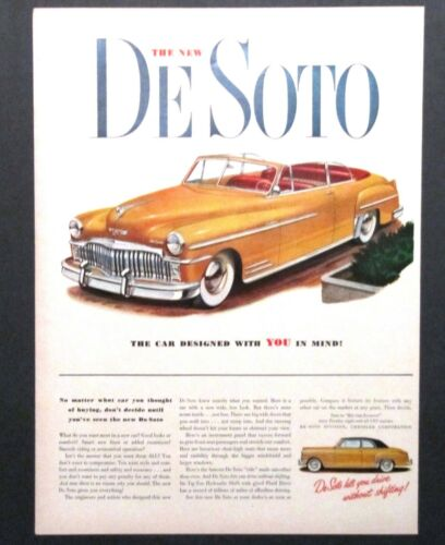 1949 De Soto Advertisement Yellow Convertible Car Graphics Vintage Print AD