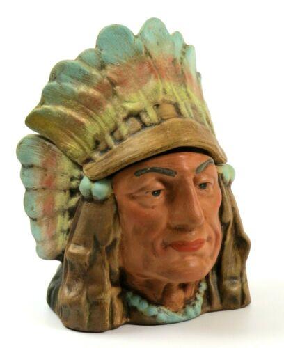 Vintage Ceramic Native American Indian Chief Head Tobacco Humidor, 1981
