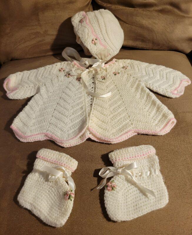 Vintage 1938, Baby Sweater Set, Handmade, 4 Pieces