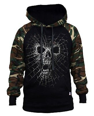 Men's Black Widow Camo/Black Raglan Hoodie Sweater Spider Skull Halloween Scary](Scary Black Widow Spider)