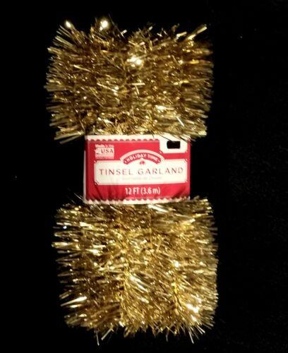 Metallic Gold Vintage Style Christmas Tinsel Garland - 12 Feet - NIP