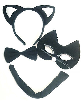 Cat Costume Halloween Animal Fancy Dress Black Ears Tail Mask Bow Tie Kitten
