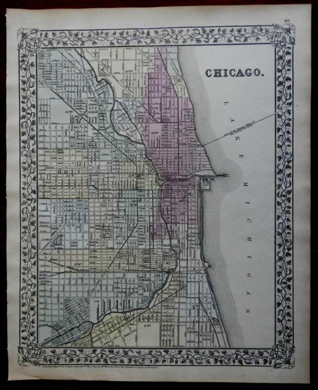 Chicago Illinois City Plan Lake Michigan Chicago River 1873 Mitchell city plan