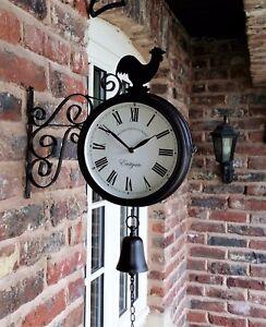 Cockerel Bell Outdoor double side Clock Garden Wall Outside Bracket Station 32cm
