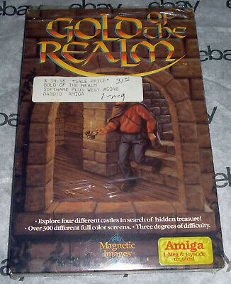 Commodore AMIGA 100% Complete GOLD OF THE REALM Big Box 3.5 disk Magnetic Images