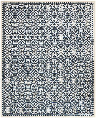 Safavieh Cambridge NAVY BLUE / IVORY Wool Contemporary Area Rug - CAM123G - Navy Contemporary Rug