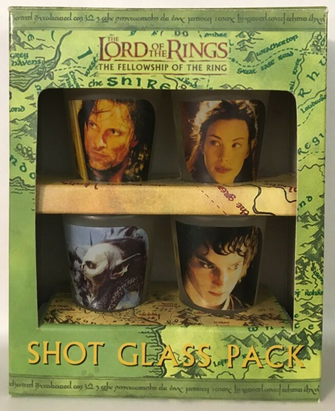 Lord of the Rings LotR - Set of 4 Movie Shot Glasses - Fellowship 2001