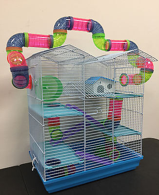 NEW Large Twin Towner Dwarf Hamste Guinea Pig Mice Deg Cross Tube Tunnel Cage150