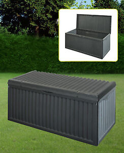 Black-Plastic-Garden-Storage-Box-With-Lid-Garden-Patio-Cushion-Storage-Box