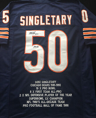 d32606af90b Mike Singletary Chicago Bears Signed Autograph Blue Football Stat Jersey  JSA COA