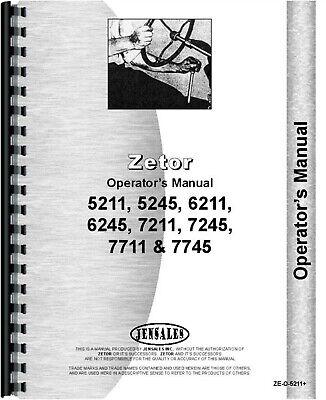 Zetor 7211 6245 5245 7711 6211 7245 7745 5211 Tractor Owners Operators Manual