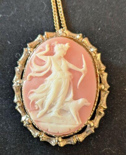 Vintage Greek Goddess Diana Cameo Necklace Pendant Brooch
