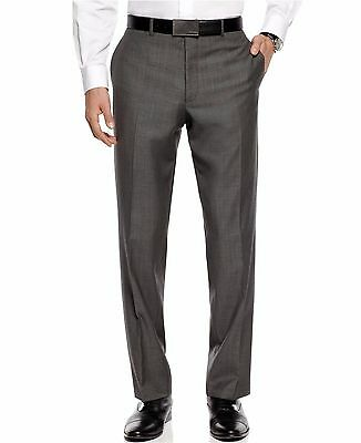 NEU CALVIN KLEIN Herren Grau 100% Wolle Slim Fit Flache Front Kleid Hose $175 (Herren Kleid Hose Slim Fit Wolle)