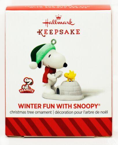 Winter Fun with SNOOPY NEW Hallmark Miniature 2014 Ornament WOODSTOCK Igloo