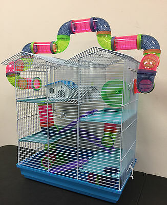 Gerbil Hamster Cage (NEW Large Twin Towner Hamster Habitat Rodent Gerbil Mouse Mice Rats Cage)