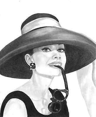 Audrey Hepburn original pencil drawing
