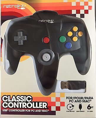 Retrolink Nintendo 64 Classic USB Enabled Wired Controller for PC and MAC✔ Black