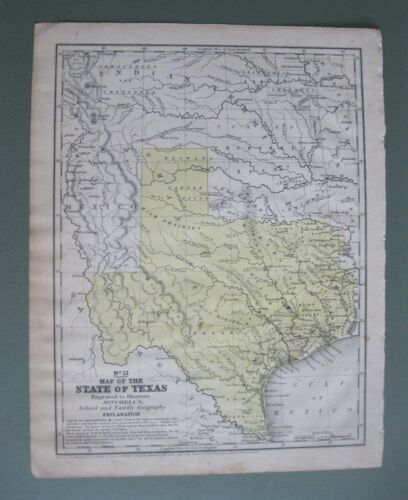 Original ©1846 Mitchell Map: First Map of Present Day State of Texas ca.1850