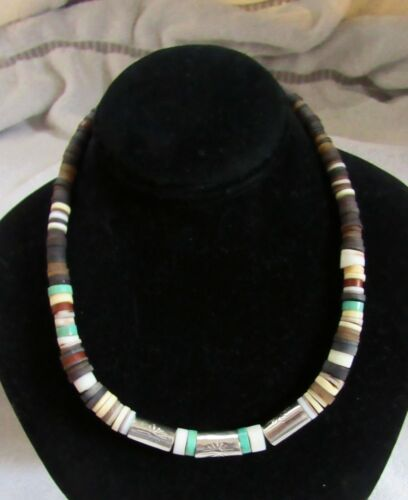 Santo Domingo Heishi Beads Necklace Sterling Silver Turquoise Coral Jet Onyx