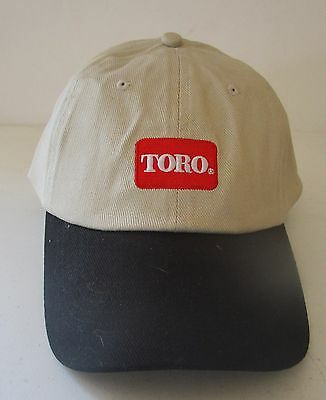 (m314)Toro Baseball Cap-Tan Black Beak-Touch Closure & Back Logo Jim' Mower Ctr.