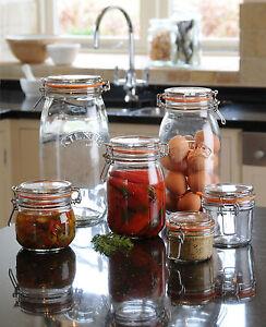 Vintage-Kilner-Clear-Glass-Jam-Spices-Sauce-Chutney-Food-Storage-Deli-Jars-Pots