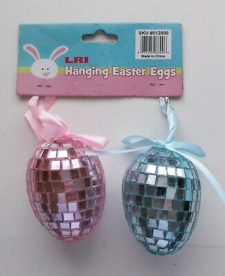 2 LRI Glass Hanging Easter Eggs Pink & Blue New With Tags](Blue Easter Eggs)