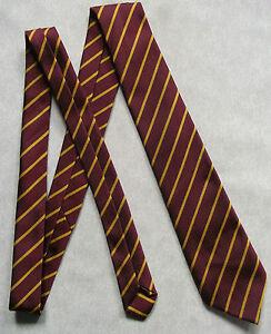 NEW BURGUNDY GOLD STRIPED TIE MENS NECKTIE OLD SCHOOL STRIPES VINTAGE 70s 1980s