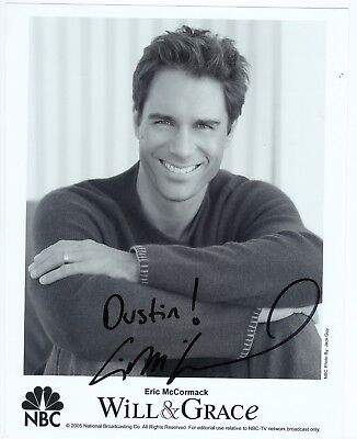 Eric McCormack autographed black & white 8 x 10 photo hand signed Will and Grace