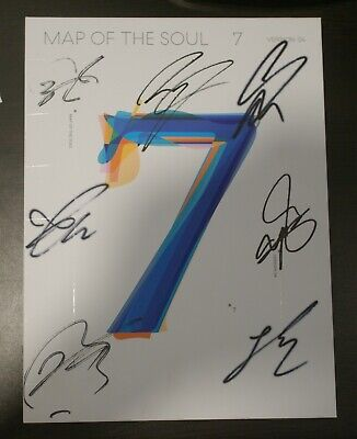 BTS Autographed Signed Map of the Soul 7 CD PROMO Album + Group PhotoCard