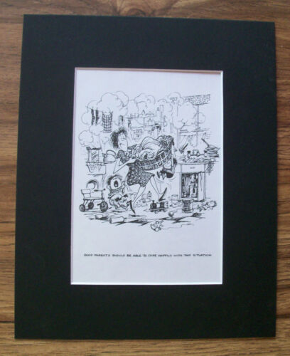 Child Cartoon Print Norman Thelwell Mom Rainy Day Coping Bookplate 1977 Matted