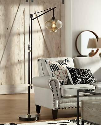Rustic Floor Lamp Industrial Bronze Glass LED Edison Bulb For Living Room Glass Rustic Floor Lamp