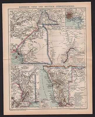 Landkarte map 1894: KAMERUN, TOGO, DEUTSCH-SÜDWEST AFRIKA. Kolonialgeschichte