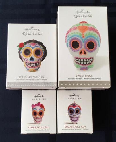 2015-18 Hallmark ~ 4 Ornaments ~ Sweet Skull/Los Muertos/Mini Sugar Skulls ~ NIB