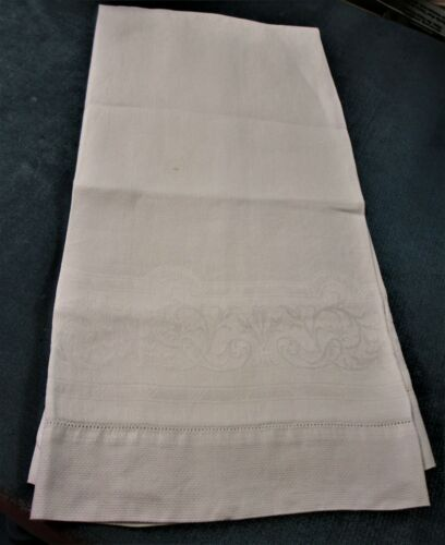 Antique Linen Damask Bath Towel Scrollwork & Diamond Point Texture Elegant!