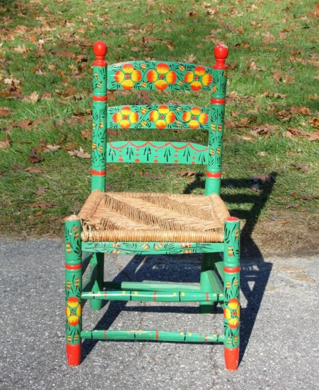 Vintage Rustic Hand Painted Mexican Folk Art Ladder Back Chair Rush Seat Mexico