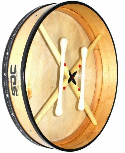 NATURAL BODHRAN DRUM Irish Celtic 18 Inch Drums + CASE + 2 Tippers
