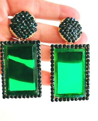 ZARA BEAUTIFUL MASSIVE 3''  SPARKLING EMERALD RHINESTONES STATEMENT EARRINGS