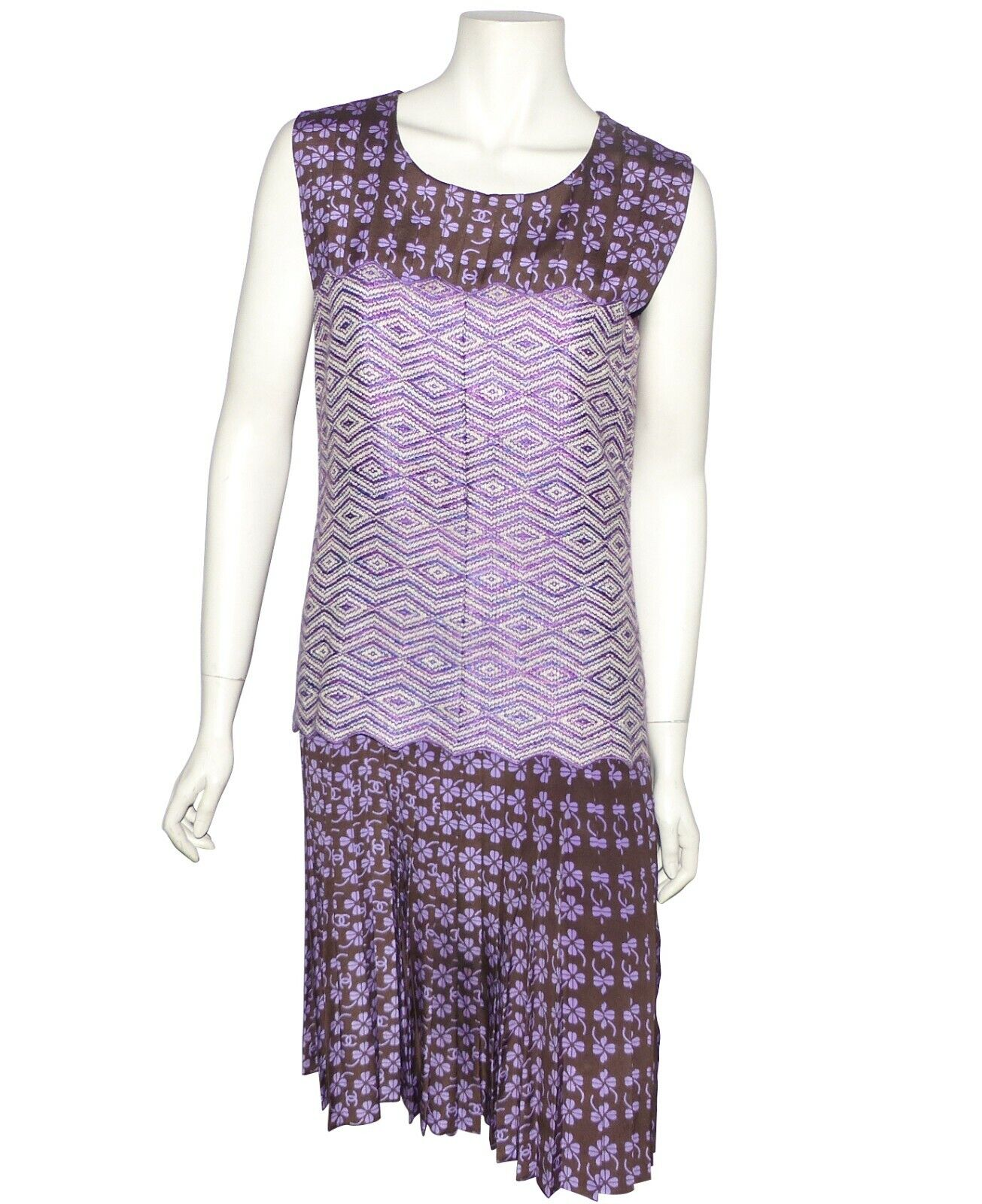 Chanel - robe en bimatiere violette et marron - chanel's dress