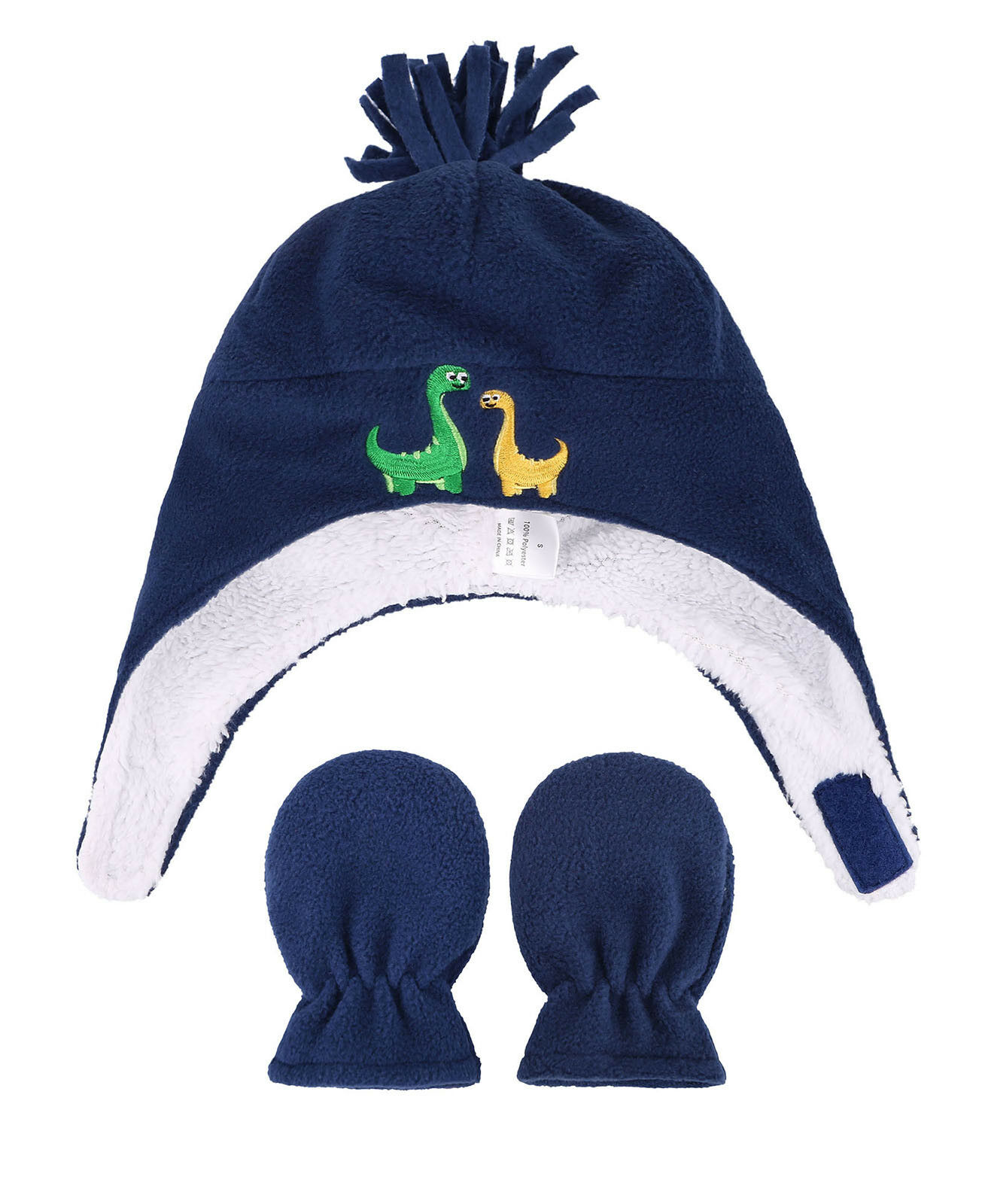 Kids Boys Girls Toddlers Sherpa Lined Embroidered Fleece Hat