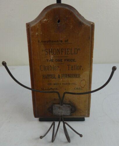 Antique Wooden Shonfield Custom Tailor Hanging Wall Advertisement Piece Hat Rack