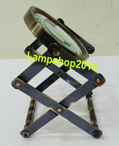 Brass Nautical Desktop Vintage Style Magnifier Adjustable Magnifying Glass