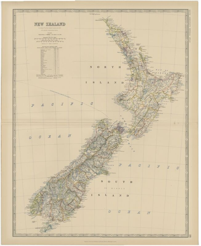 Antique Map of New Zealand by Johnston (1882)