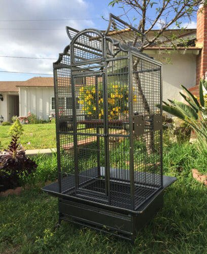 Large Stylish Wrought Iron Open Dome Play-Top Parrot Macaw Cockatoos Bird Cage