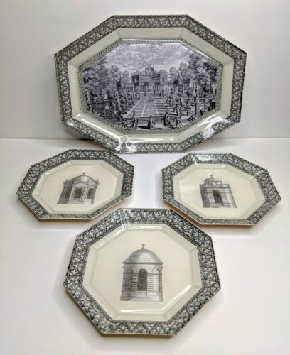 Vintage Hand Painted Charles Castela Decorative Plates 1994 Architecture Signed