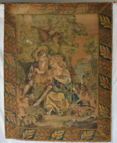 Antique Tapestry Hand Painted French Wall hanging c mid-1800